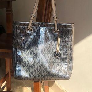 Silver/Gunmetal Metallic Michael Kors Tote Bag